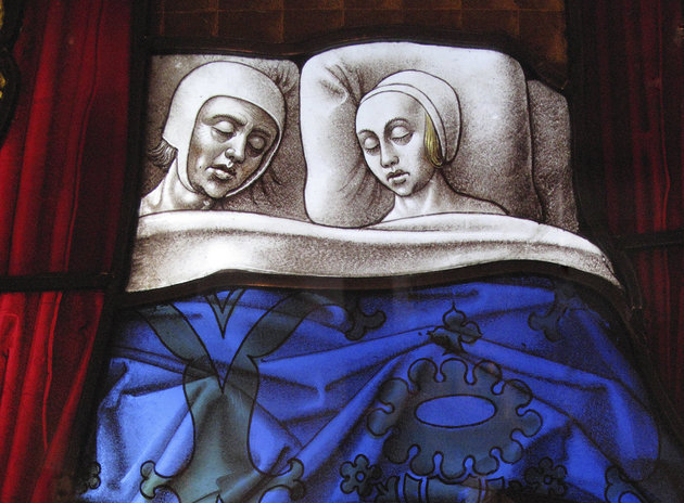 Medieval Stained Glass Window Panel Couple Sleeping